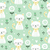 Seamless pattern with cute cats. Vector illustration with white kittens Royalty Free Stock Image