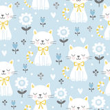 Seamless pattern with cute cats. Vector illustration with white kittens and flowers on color background Royalty Free Stock Photo
