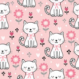 Seamless pattern with cute cats. Vector illustration with white kittens and flowers on a pink background Royalty Free Stock Photos