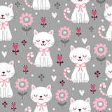 Seamless pattern with cute cats. Royalty Free Stock Images