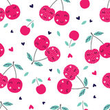 Seamless pattern with cute cherries Stock Photo