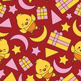 Seamless pattern with cute chick, box gift and stars on red background Stock Photography