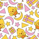 Seamless pattern with cute chick, box gift and stars  Royalty Free Stock Photos