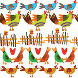 Seamless pattern with cute chickens. Seamless pattern can be used for wallpaper, pattern fills, web page backgrounds, surface textures Stock Photo