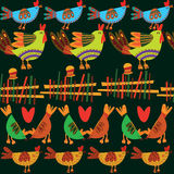 Seamless pattern with cute chickens. Royalty Free Stock Photo