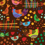Seamless pattern with cute chickens. Seamless pattern can be used for wallpaper, pattern fills, web page backgrounds, surface textures Stock Image