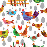 Seamless pattern with cute chickens. Stock Photos
