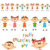 Seamless pattern with cute childrens. Happy Childrens Day title. Vector illustration Stock Images