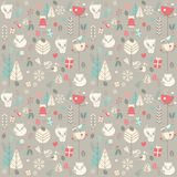 Seamless pattern with cute Christmas baby fox surrounded with fl Royalty Free Stock Image