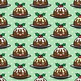 Seamless pattern with cute Christmas pudding characters. Endless texture for festive design, brochure, flyer, packaging, wrapping and decoration Royalty Free Stock Photo