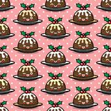 Seamless pattern with cute Christmas pudding characters. Endless texture for festive design, brochure, flyer, packaging, wrapping and decoration Stock Image
