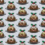 Seamless pattern with cute Christmas pudding characters. Endless texture for festive design, brochure, flyer and decoration Royalty Free Stock Photos