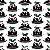 Seamless pattern with cute Christmas pudding characters. Endless texture for festive design, brochure, flyer and decoration Stock Photo