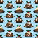 Seamless pattern with cute Christmas pudding characters. Endless texture for festive design, brochure, flyer, packaging, wrapping and decoration Royalty Free Stock Photography