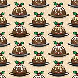 Seamless pattern with cute Christmas pudding characters. Endless texture for festive design, brochure, flyer and decoration Royalty Free Stock Images