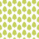 Seamless pattern with cute Christmas tree. Stock Photography