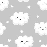 Seamless pattern with cute clouds and hearts on gray background. Ornament for children`s textiles and wrapping. Flat style. Vector Royalty Free Stock Images