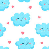 Seamless pattern with cute clouds and hearts. Ornament for children`s textiles. Flat style. Vector Stock Photo