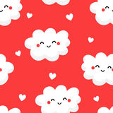 Seamless pattern with cute clouds and hearts on red background. Ornament for children`s textiles and wrapping. Flat style. Vector Stock Images