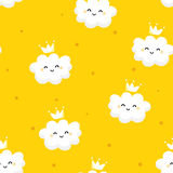 Seamless pattern with cute clouds princess and stars on yellow background. Ornament for children`s textiles and wrapping. Flat sty Stock Photos