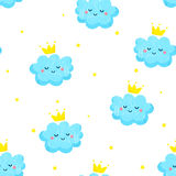 Seamless pattern with cute clouds and stars. Ornament for children`s textiles. Flat style. Vector Royalty Free Stock Photo