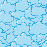 Seamless pattern with cute clouds Stock Images