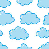 Seamless pattern with cute clouds Royalty Free Stock Images