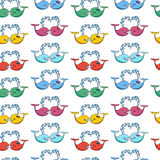 Seamless pattern with cute color whales in love. Stock Photos