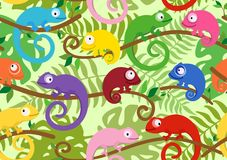 Seamless pattern with cute, colored chameleons. Vector illustration. Set of funny chameleons among tropical leaves. Suitable for children`s playrooms, web pages Royalty Free Stock Photo