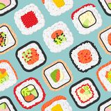 Seamless pattern of cute colored sushi rolls Royalty Free Stock Image