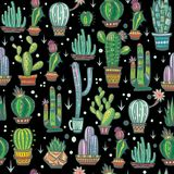 Seamless pattern with cute cactuses Stock Photos