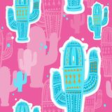 Seamless pattern with cute cactuses Stock Images