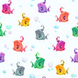 Seamless pattern with cute colorful cartoon fishes. And bubbles. Vector underwater texture Stock Illustration
