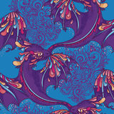 Seamless pattern with cute colorful dragons Royalty Free Stock Photography