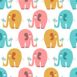 Seamless pattern with cute colorful elephants Royalty Free Stock Photography