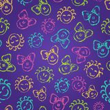 Seamless Pattern with Cute Colorful Kid Faces Royalty Free Stock Image