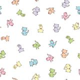 Seamless pattern with cute colorful kitties isolated on white background. Vector illustration Royalty Free Stock Photography