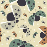 Seamless pattern with cute colorful ladybugs Stock Photos