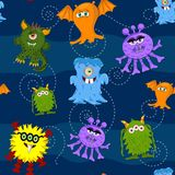 Seamless Pattern Cute colorful monsters on blue background. Children clip art. Pattern for fabric, paper, scrapbooking, journal, children accessories vector illustration