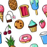 Seamless pattern of cute colorful patch badges and pins with foo. D, fun cartoon icons in pop art style. Vector pattern of hand drawn stickers and pins with meal Vector Illustration