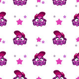 Seamless pattern with cute comic purple character Royalty Free Stock Photos