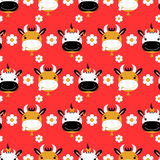 Seamless pattern with cute cows Royalty Free Stock Photography
