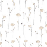 Seamless pattern with cute creamy flowers. White background with doodle roses. Stock Photos