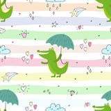 Seamless pattern with cute crocodile and umbrella. vector print. Seamless pattern with cute crocodile and umbrella. vector print Stock Illustration