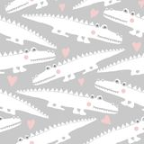 Seamless pattern with cute crocodiles vector illustration