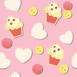 Seamless pattern with cute cupcakes stock illustration