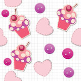 Seamless pattern with cute cupcakes. Illustration Stock Photography
