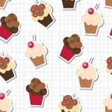 Seamless pattern with cute cupcakes Stock Photography