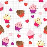 Seamless pattern with cute cupcakes. Illustration Royalty Free Stock Image