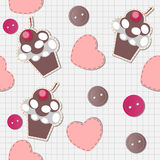 Seamless pattern with cute cupcakes. Illustration Stock Photo